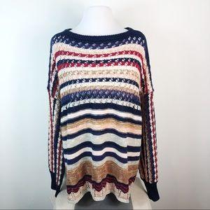 Umgee + Striped Open Knit Crochet Sweater XL